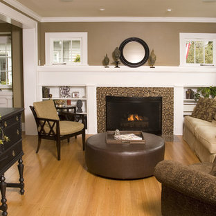 Inspiration for a timeless living room remodel in Seattle with a tile fireplace