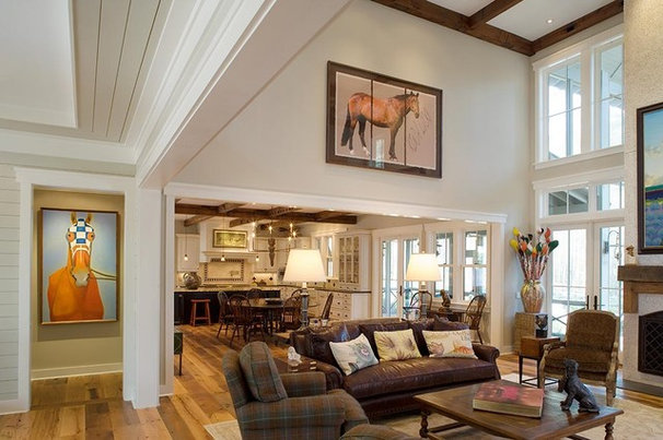 Rustic Living Room by Wayne Windham Architect, P.A.