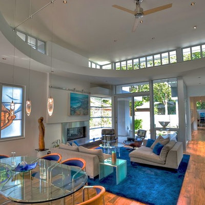 Inspiration for a large modern open concept living room remodel in San Francisco with a ribbon fireplace