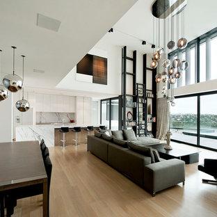 Diseño de salón abierto, contemporáneo, con paredes blancas