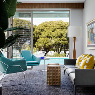 Midcentury formal enclosed living room in Perth with grey walls.