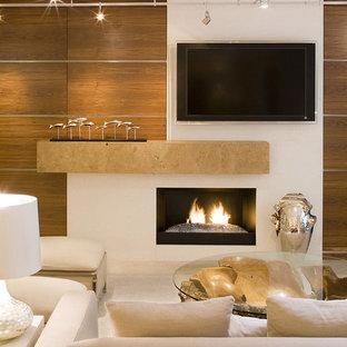 Immagine di un soggiorno design con TV a parete e cornice del camino in pietra