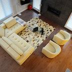 Polaris White Top Grain Italian Leather Sectional Sofa