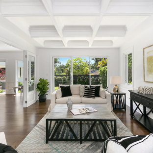 Design ideas for a large beach style formal enclosed living room in Sydney with medium hardwood floors, brown floor, coffered and white walls.