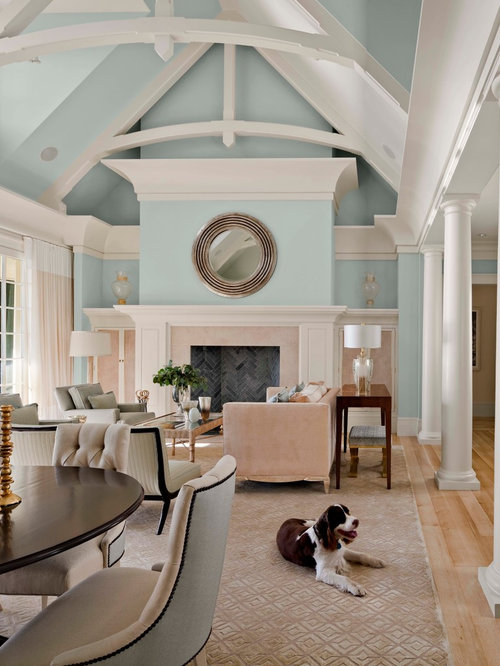 inspiration for a large transitional formal and open concept light wood floor and beige floor living - Blue Beige Living Room Ideas
