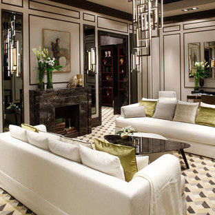 Living room - large contemporary formal and enclosed living room idea in Venice with a standard fireplace and a stone fireplace
