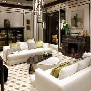 Large trendy formal and enclosed carpeted living room photo in Venice with multicolored walls, a standard fireplace and a stone fireplace