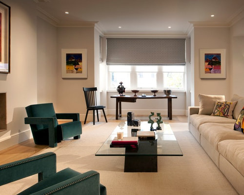 Large Transitional Formal Medium Tone Wood Floor Living Room Photo In  London With White Walls And