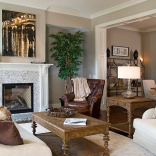 Living room - transitional living room idea in Other with gray walls