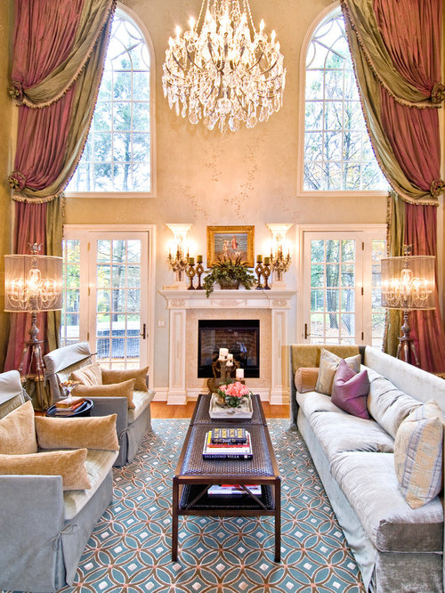 Large Elegant Living Room Photo In New York With Beige Walls And A Standard Fireplace