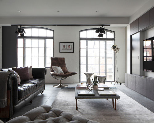 Photo of a medium sized industrial formal open plan living room in London  with concrete flooringIndustrial Living Room Ideas   Photos. Industrial Living Room Ideas. Home Design Ideas