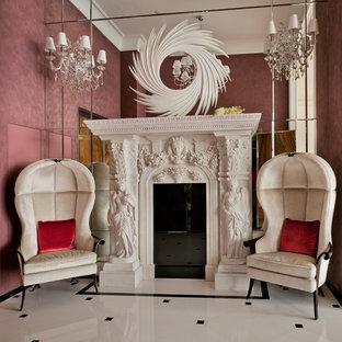 Foto di un grande soggiorno design aperto con sala formale, pareti rosse, pavimento in marmo, camino lineare Ribbon, cornice del camino in pietra e nessuna TV