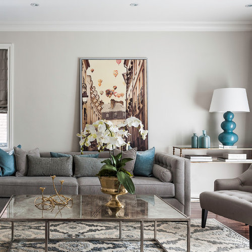 Inspiration For A Mid Sized Transitional Formal And Enclosed Medium Tone Wood Floor Living Room