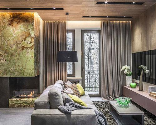 Asiatische Wohnzimmer mit Eckkamin Ideen, Design & Bilder  Houzz