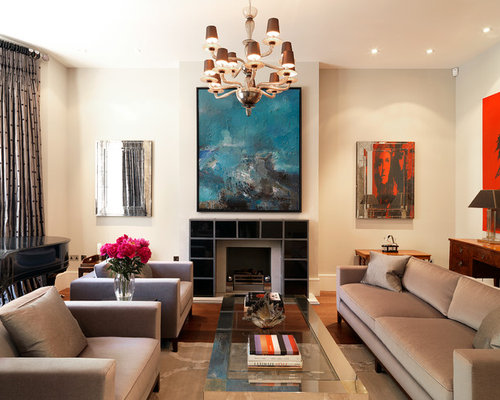 Transitional Formal Living Room Idea In London With Beige Walls, Medium  Tone Wood Floors And Part 24