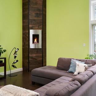 Immagine di un soggiorno minimal di medie dimensioni e aperto con pareti verdi, pavimento in cemento, camino ad angolo, TV autoportante e cornice del camino in metallo