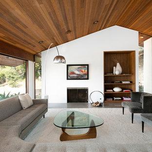 Exemple d'un salon moderne avec un mur blanc, béton au sol, une cheminée standard et un sol gris.