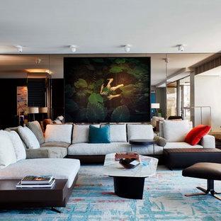 シドニーの大きいコンテンポラリースタイルのおしゃれなLDK (フォーマル、マルチカラーの壁、カーペット敷き、マルチカラーの床) の写真