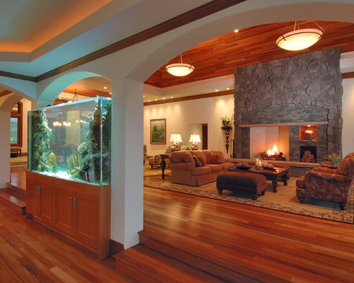 Example Of A Large Trendy Formal Open Concept Living Room Design In Hawaii With Stone