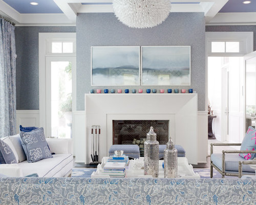 Transitional Living Room Photo In New York With Blue Walls And A Standard Fireplace