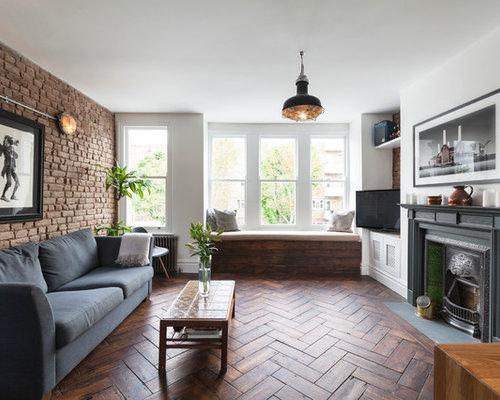 living room design contemporary. Inspiration for a contemporary open plan living room in London with white  walls medium hardwood Contemporary Living Room Design Ideas Pictures