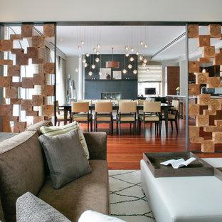 Immagine di un soggiorno contemporaneo di medie dimensioni con pareti bianche, pavimento in legno massello medio, camino classico e cornice del camino in cemento