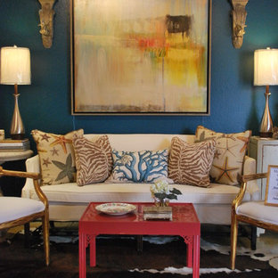 Living room - eclectic formal living room idea in Other with blue walls