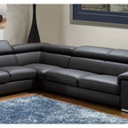 Made in Italy Darck Gray Leather Sectional Sofa - This wonderful Sectional will put a remarkable accent in your living room area. The set includes sectional with adjustable headrests wrapped in genuine Italian leather. Sure to become your favorite spot in the house. Available in Left or Right.