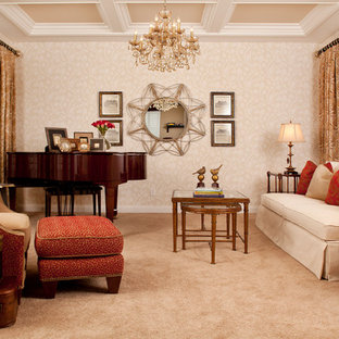 Living Room Traditional Carpeted Idea In Las Vegas With A Music Area And