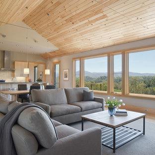 Inspiration för mellanstora moderna allrum med öppen planlösning, med grå väggar, ljust trägolv, en inbyggd mediavägg, en standard öppen spis, en spiselkrans i trä och brunt golv