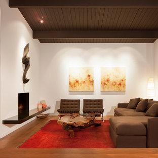 Idee per un grande soggiorno moderno con pareti bianche