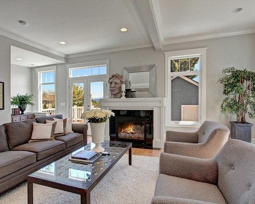 salon victorien avec un mur gris photos et id es d co de. Black Bedroom Furniture Sets. Home Design Ideas