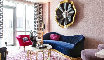 Magenta and Navy Pad Living Room