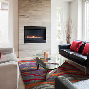 Mid-sized trendy living room photo in Vancouver with white walls and a ribbon fireplace