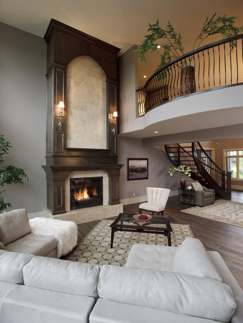 Ashley gray benjamin moore houzz Two story living room decorating ideas