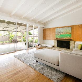 ミッドセンチュリースタイルのおしゃれなLDK (白い壁、淡色無垢フローリング、標準型暖炉、石材の暖炉まわり) の写真