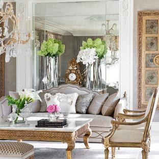 Großes, Repräsentatives, Abgetrenntes Klassisches Wohnzimmer mit Marmorboden in Paris