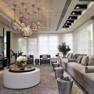 Идея дизайна: парадная, открытая гостиная комната среднего размера в средиземноморском стиле с серыми стенами, полом из линолеума и телевизором на стене без камина