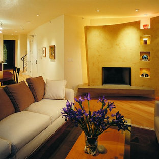 Example of a trendy living room design in San Francisco with a standard fireplace