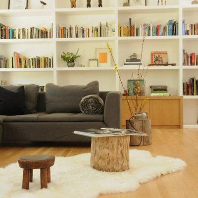 Mid-sized danish open concept light wood floor living room photo in Los Angeles