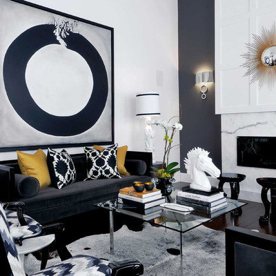Example of a zen living room design in Other with white walls and a ribbon fireplace