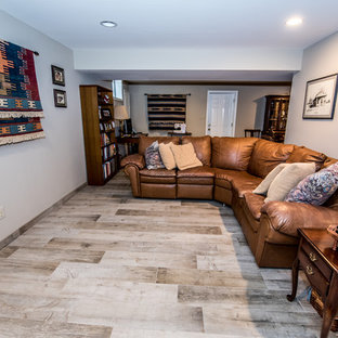 Living room - mid-sized southwestern enclosed porcelain floor and beige floor living room idea in DC Metro with white walls and no tv