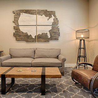 Design ideas for a medium sized rustic enclosed living room in Austin with a home bar, beige walls and concrete flooring.