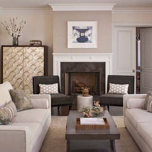 Trendy living room photo in Los Angeles with beige walls, a standard fireplace and no tv