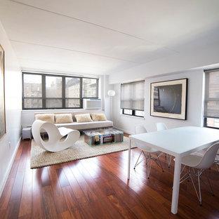Idee per un soggiorno minimalista di medie dimensioni e chiuso con pareti bianche, parquet scuro, nessun camino, nessuna TV e pavimento rosso