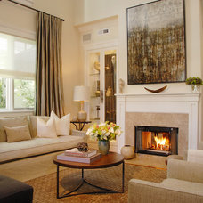 transitional living room by Annette English