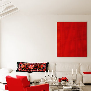 This is an example of a scandi living room in New York with white walls.