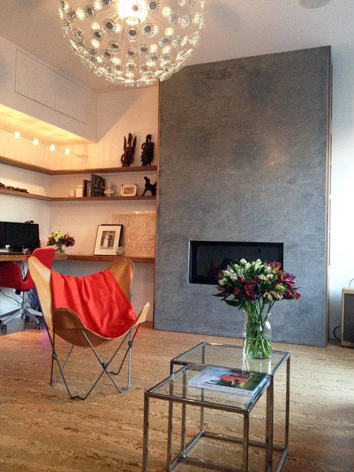 Tiles Design For Living Room Wall: 75 Scandinavian Living Room With Cork Flooring Design