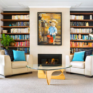 Mid-sized trendy gray floor living room photo in Sydney with white walls and a standard fireplace