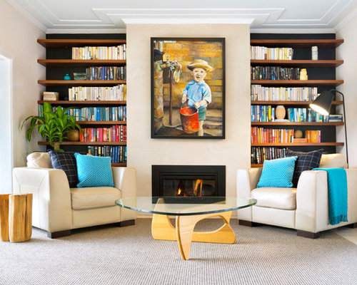 Design Ideas For A Mid Sized Contemporary Living Room In Sydney With White  Walls,